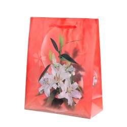 Пакет подарочный 23х18х7,5 см с лилиями белыми красный