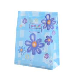 Пакет подарунковий 23х18х7,5 см з ромашками синіми блакитний