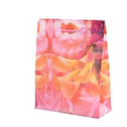 Пакет подарочный 23х18х7,5 см с каллами желтыми розовый