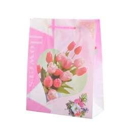 Пакет подарунковий 23х18х7,5 см з тюльпанами рожевий