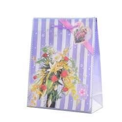 Пакет подарунковий 23х18х7,5 см в смужку з букетом бузковий