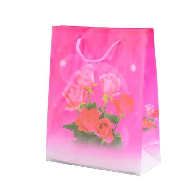 Пакет подарочный 23х18х7,5 см с розами малиновый