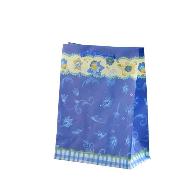 Пакет подарунковий 16х12х6 см c облямівкою жовтою квітами синій