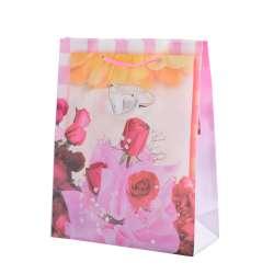 Пакет подарунковий 23х18х7,5 см з трояндами і кільцем рожевий