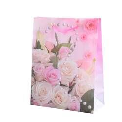 Пакет подарунковий 23х18х7,5 см з перлами і букетом троянд рожевий