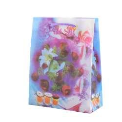 Пакет подарочный 23х18х7,5 см с лилиями и розами фиолетовый