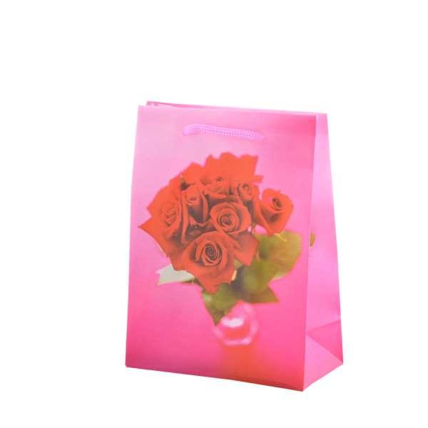 Пакет подарунковий 16х12х6 см з трояндами червоними малиновий