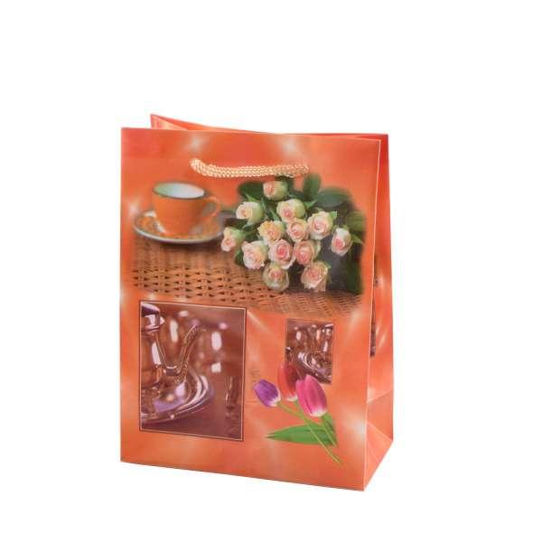 Пакет подарунковий 16х12х6 см з чашкою і трояндами помаранчевий
