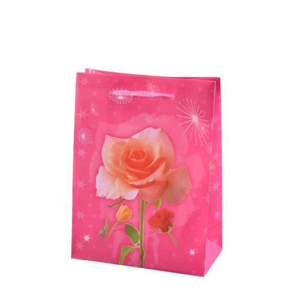 Пакет подарочный 16х12х6 см с розой розовый