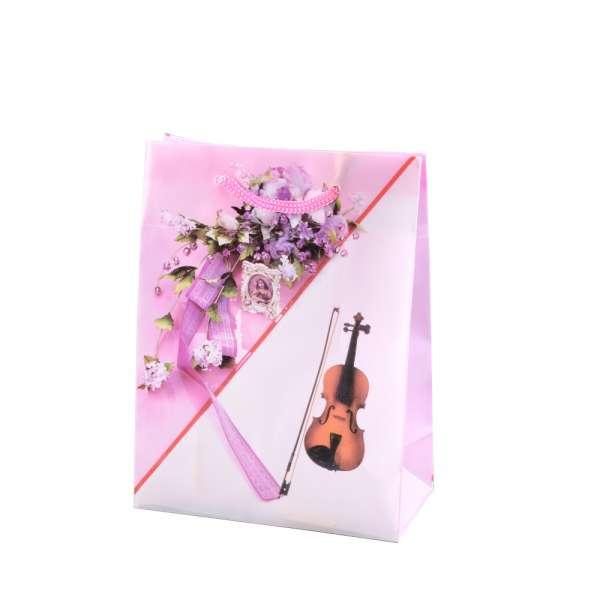 Пакет подарочный 16х12х6 см с букетом и скрипкой розовый