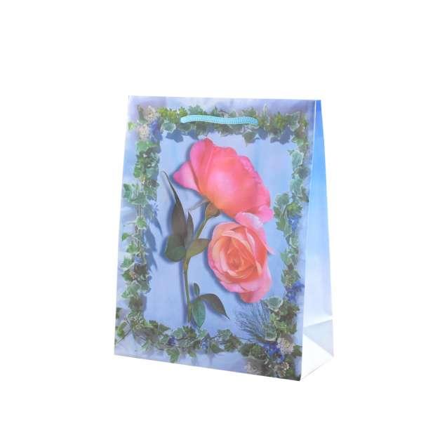 Пакет подарунковий 16х12х6 см з трояндами і плющем блакитний