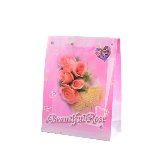 Пакет подарунковий 16х12х6 см з трояндами Beautiful Rose рожевий