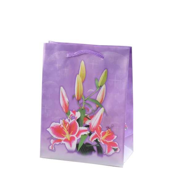 Пакет подарочный 16х12х6 см с лилиями сиреневый