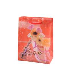 Пакет подарунковий 16х12х6 см з букетом і скрипкою Love червоний