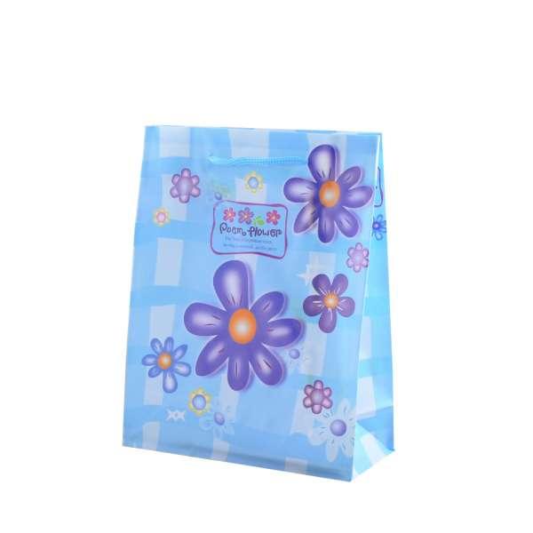 Пакет подарунковий 16х12х6 см з ромашками синіми блакитний