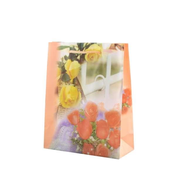 Пакет подарунковий 16х12х6 см з трояндами і парканом персиковий