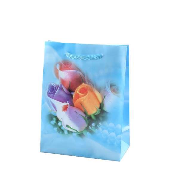 Пакет подарочный 16х12х6 см с розами голубой