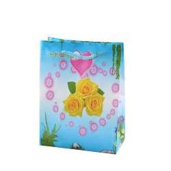 Пакет подарунковий 16х12х6 см з серцем трояндами жовтими блакитний