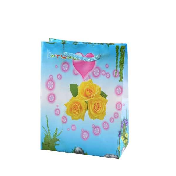 Пакет подарочный 16х12х6 см с сердцем розами желтыми голубой