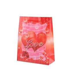 Пакет подарунковий 16х12х6 см з серцем LOVE червоний