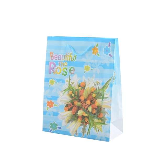 Пакет подарунковий 16х12х6 см в смужку Beautiful The Rose блакитний