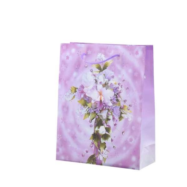 Пакет подарунковий 16х12х6 см з букетом лілією бузковий