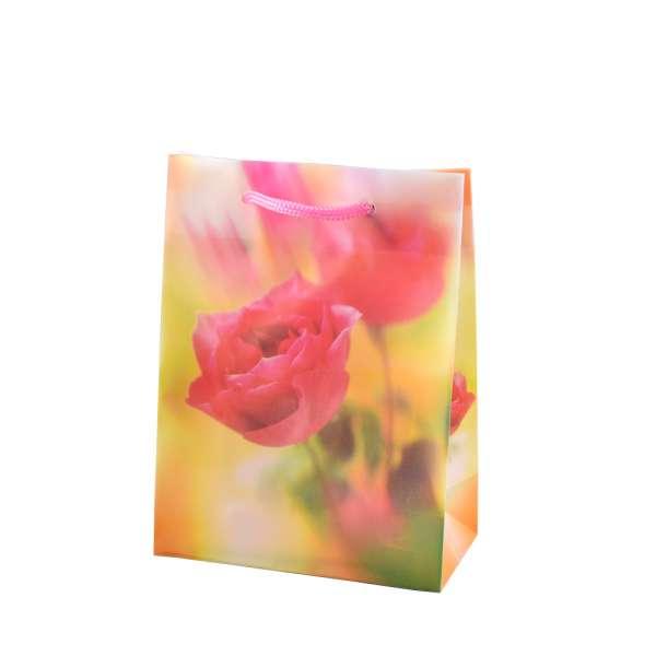 Пакет подарунковий 16х12х6 см з трояндою жовтий