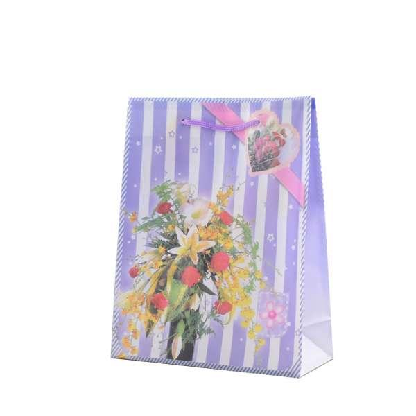Пакет подарунковий 16х12х6 см в смужку з букетом фіолетовий