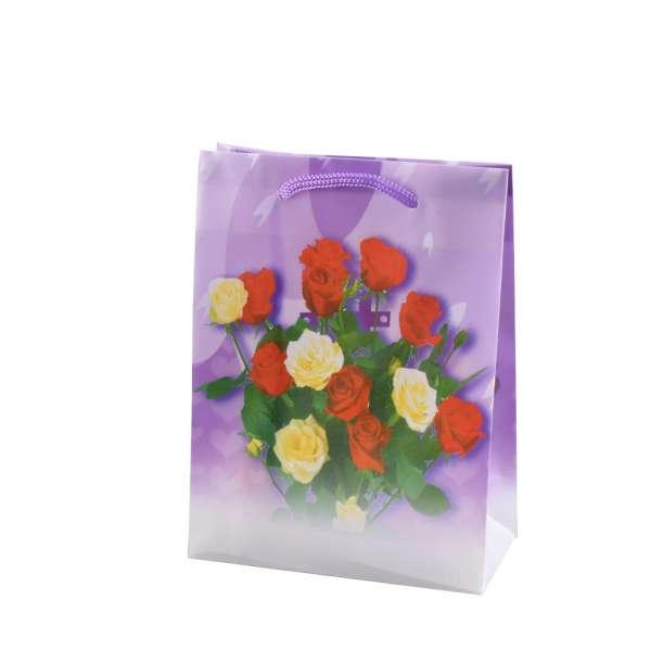 Пакет подарунковий 16х12х6 см з трояндами червоно-жовтими фіолетовий