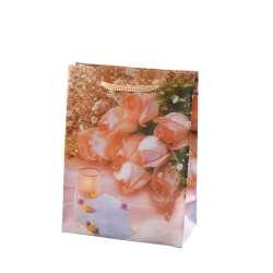 Пакет подарунковий 16х12х6 см зі свічкою персиковий