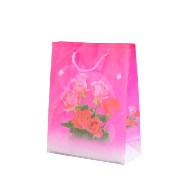 Пакет подарунковий 16х12х6 см з трояндами малиновий
