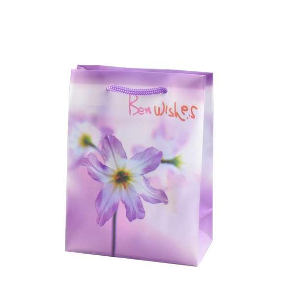 Пакет подарочный 16х12х6 см с лилиями Best wishes сиреневый