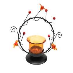 Підсвічник на 1 свічку 14 см метал чорний коло з помаранчевий стакан