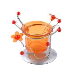 Підсвічник на 1 свічку метал сріблястий помаранчевий стакан 8х10х9 см