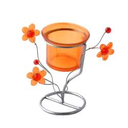 Підсвічник на 1 свічку метал сріблястий помаранчевий стакан на ніжці 11х12х7 см