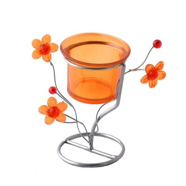 подсвечник мет. серебристый с оранж.цветами, 10см