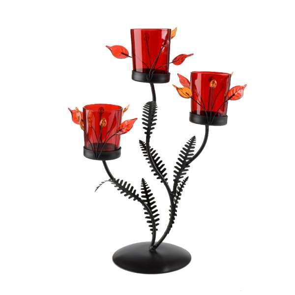 Підсвічник на 3 свічки 30х22х11 см металевий коричневий з оранжево-рожевим листям