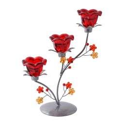 Підсвічник на 3 свічки 29х23х11 см метал сріблястий з квіткою червоним