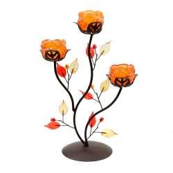 Підсвічник на 3 свічки 30х21х11 см метал коричневий з листям