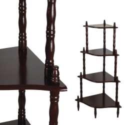 Стелаж кутовий 4 полиці дерев'яний 107х57х39 см коричневий темний
