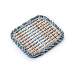 Підставка під чашки бірюзова бамбукова соломка квадратна 10х10 см
