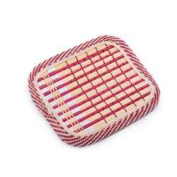 Підставка під чашки бордова бамбукова соломка квадратна 10х10 см