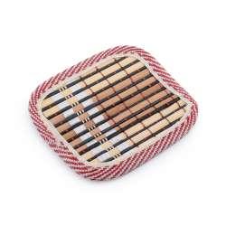 Подставка под чашки черная бамбуковая соломка квадратная 10х10 см
