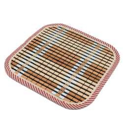 Підставка під гаряче бамбукова соломка квадратна 17х17 см бежево-чорна