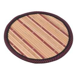 Подставка под горячее бамбуковая соломка круглая 18 см бежево-бордовая