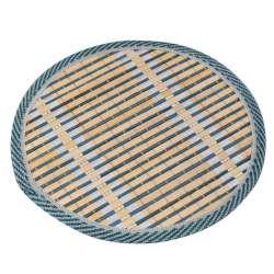 Подставка под горячее бамбуковая соломка круглая 18 см бежево-синяя