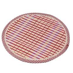 Подставка под горячее бамбуковая соломка круглая 18 см бежево-малиновая