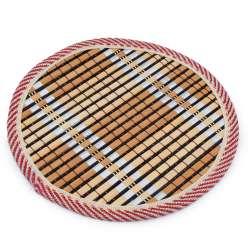Подставка под горячее бамбуковая соломка круглая 18 см бежево-черная