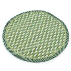 Підставка під гаряче бамбукова соломка кругла 18 см шахматка салатова