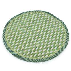 Подставка под горячее бамбуковая соломка круглая 18 см шахматка салатовая